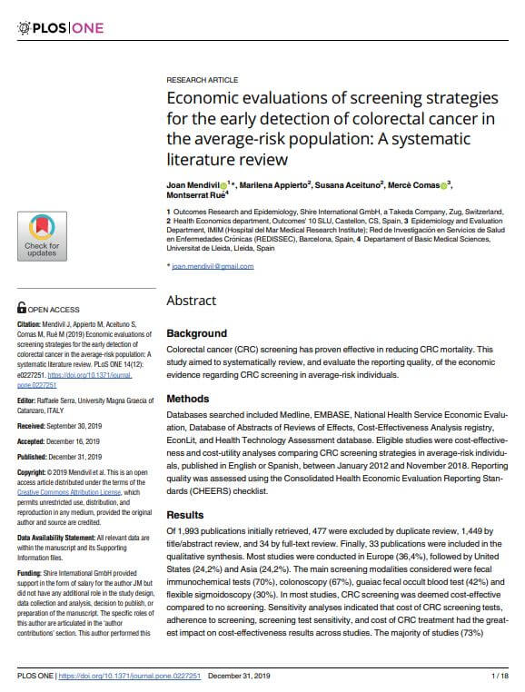 Economic-evaluations-of-screening-strategies-for-the-early-detection-of-colorectal-cancer